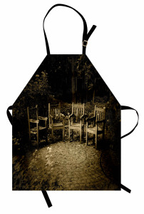İskemle Desenli Mutfak Önlüğü Nostaljik Kahverengi