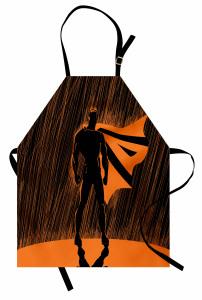 Süper Kahraman Temalı Mutfak Önlüğü Turuncu Siyah Şık