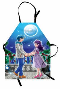 Çizgi Aşıklar Temalı Mutfak Önlüğü Romantik Mavi Şık