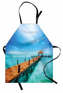 Cennet İskelesi Temalı Mutfak Önlüğü Turkuaz Gökyüzü