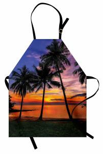 Gün Batımı Temalı Mutfak Önlüğü Palmiye Turuncu Deniz