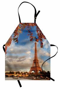 Eyfel Kulesi ve Ağaç Mutfak Önlüğü Romantik Gökyüzü