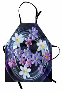 Sudaki Çiçekler Mutfak Önlüğü Mor Beyaz Dekoratif
