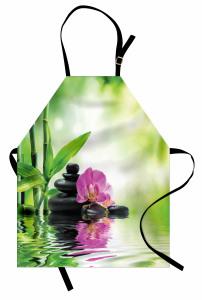 Bambu ve Çiçek Mutfak Önlüğü Aromaterapi Su Yeşil