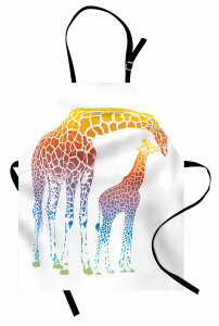 Anne ve Yavru Zürafa Mutfak Önlüğü Turuncu Şık