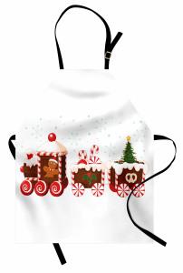 Noel Treni Desenli Mutfak Önlüğü Kırmızı Şeker Çörek