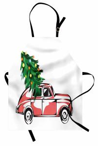 Araba ve Yılbaşı Ağacı Mutfak Önlüğü Kırmızı