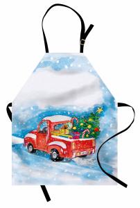 Noel Ağacı Temalı Mutfak Önlüğü Kırmızı Kamyonet Kar