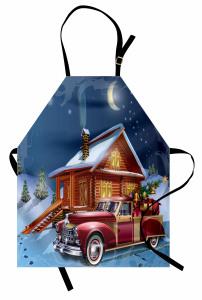 Noel Gecesi Temalı Mutfak Önlüğü Kulübe Hediye Kırmızı