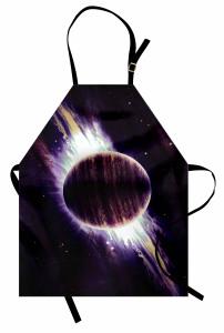 Mor Gezegen Desenli Mutfak Önlüğü Uzay Temalı Şık
