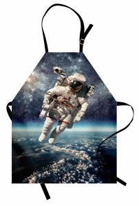 Astronot Temalı Mutfak Önlüğü Dünya Mavi Gri Uzay Şık