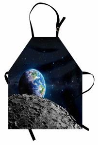 Dünya ve Ay Desenli Mutfak Önlüğü Uzay Temalı Gri Şık