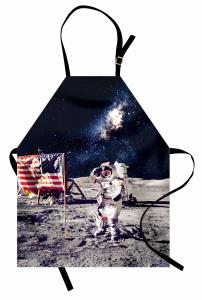 Ay'daki Astronot Temalı Mutfak Önlüğü Gri Lacivert Şık