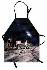Ay ve Astronot Temalı Mutfak Önlüğü Gri Lacivert Şık