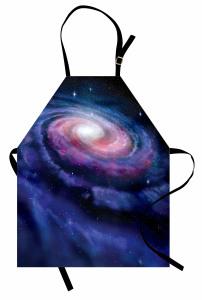 Samanyolu Temalı Mutfak Önlüğü Lacivert Uzay Trend