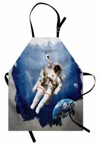 Astronot Desenli Mutfak Önlüğü Uzay Temalı Mavi Gri