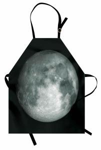 Ay Manzaralı Mutfak Önlüğü 3D Gri Siyah Uzay Trend