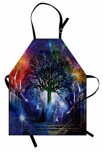 Ağaç Desenli Mutfak Önlüğü Lacivert Turuncu Trend