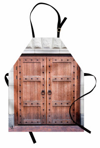 Nostaljik Ahşap Kapı Mutfak Önlüğü Kahverengi