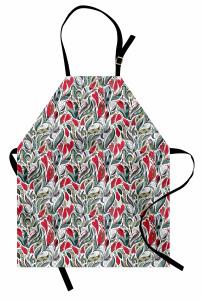Kırmızı Çiçekli Mutfak Önlüğü Gri Şık Tasarım Trend