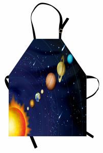 Güneş Sistemi Temalı Mutfak Önlüğü Uzay Lacivert Evren