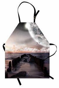 Deniz ve Uzay Temalı Mutfak Önlüğü Gri Bulut Dünya