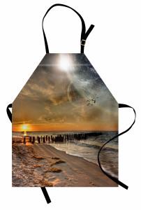 Deniz Manzaralı Mutfak Önlüğü Dünya Turuncu Güneş