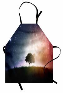 Ağaç ve Uzay Temalı Mutfak Önlüğü Yıldız Galaksi Evren