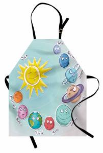 Güneş Sistemi Temalı Mutfak Önlüğü Çocuk İçin Mavi