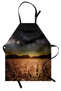 Buğday Tarlası Temalı Mutfak Önlüğü Yıldız Gökyüzü