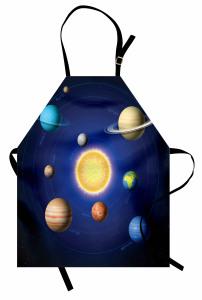 Güneş Sistemi Temalı Mutfak Önlüğü Uzay Şık Tasarım