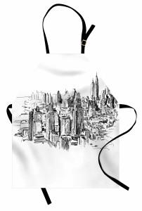 New York Temalı Mutfak Önlüğü Siyah Beyaz Trend Şık