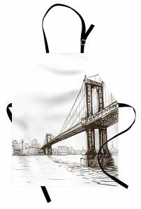 Köprü Desenli Mutfak Önlüğü El Çizimi Şık Tasarım