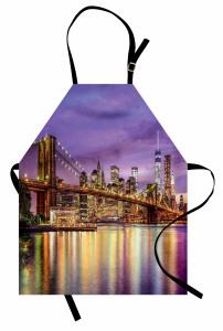 Brooklyn Köprüsü Temalı Mutfak Önlüğü Altın Mor Şık
