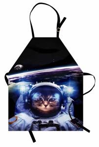 Astronot Kedi Temalı Mutfak Önlüğü Siyah Uzay Şık