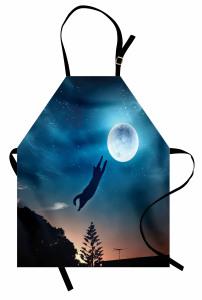 Ay'a Atlayan Kedi Mutfak Önlüğü Mavi Yıldız Şık