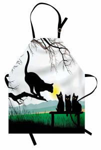 Kara Kedi Temalı Mutfak Önlüğü Ağaç Yavru Anne Şık