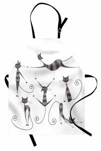 Çizgili Kedi Temalı Mutfak Önlüğü Gri Beyaz Trend