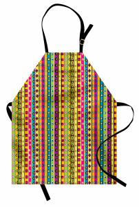 Rengarenk Çizgili Mutfak Önlüğü Geometrik Şık