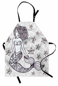 Deniz Kızı Temalı Mutfak Önlüğü Gri Şık Tasarım Trend
