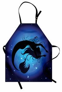 Mavi Ay ve Deniz Kızı Mutfak Önlüğü Şık Tasarım