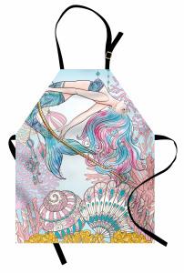 Deniz Kızı ve Kabuk Mutfak Önlüğü Pembe Mavi
