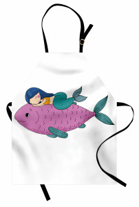 Mor Balık ve Deniz Kızı Mutfak Önlüğü Çocuklar