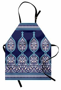 İslam Etkili Lacivert Mutfak Önlüğü Kalem İşi