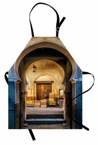 Şık Kemerli Kapı Temalı Mutfak Önlüğü Doğu Mimarisi