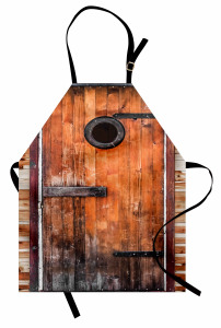 Kahverengi Ahşap Kapı Mutfak Önlüğü Dekoratif