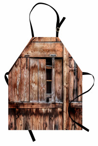 Nostaljik Ahşap Ev Mutfak Önlüğü Şık Kahverengi