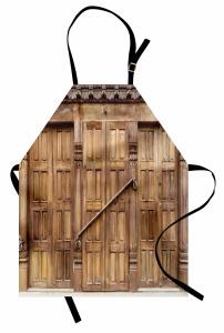 Oymalı Kahverengi Kapı Mutfak Önlüğü Dekoratif
