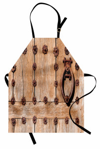 Tokmaklı Ahşap Kapı Mutfak Önlüğü Şık Nostaljik