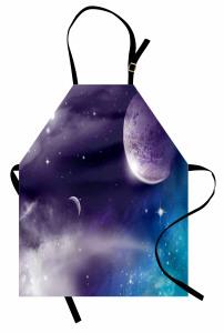 Uzay Gezegen ve Yıldız Mutfak Önlüğü Mor Mavi